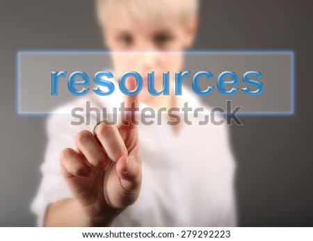Girl touching sign - business concept - stock photo
