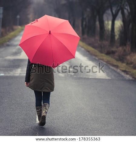 Girl under Rain - stock photo