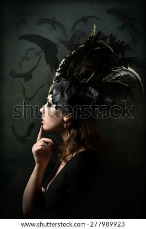 Girl unicorn - stock photo