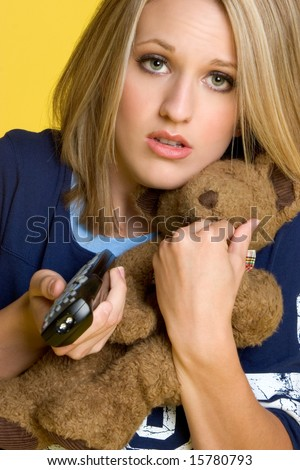 Girl Watching TV - stock photo