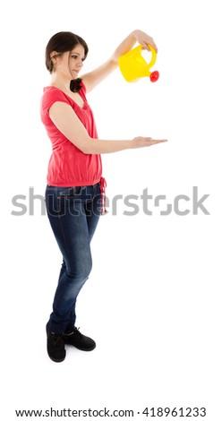 girl watering - stock photo
