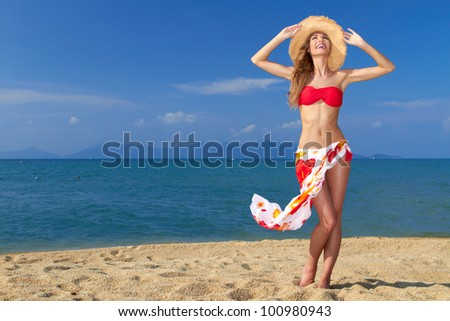 Girl wearing bikini and hat and posing at the sandy beach - stock photo