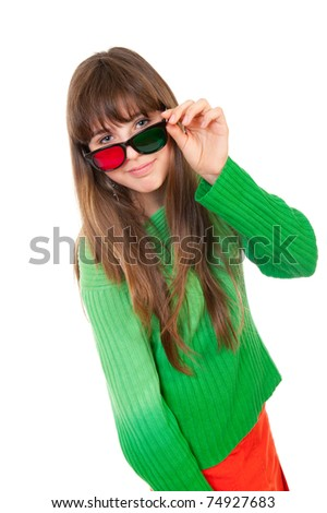 Girl wearing 3D glasses isolated over white background - stock photo