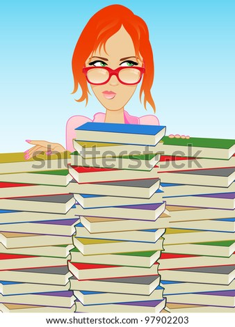 Girl Wearing Glasses Behind a Stack of Books - stock photo