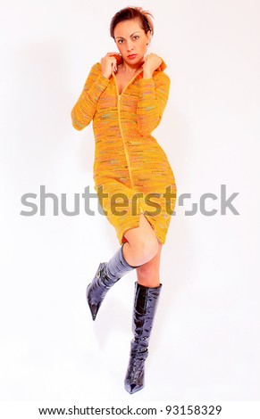 Girl wearing winter dress made of wool - stock photo