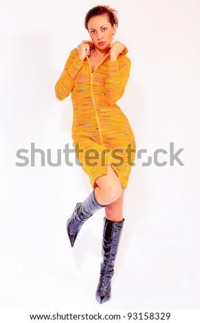 Girl wearing winter dress made of wool - stock photo