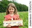 Girl wiht a basket strawberry - stock photo