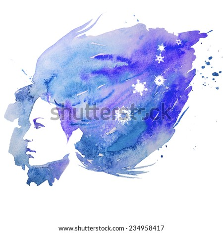 girl, winter, watercolor - stock photo