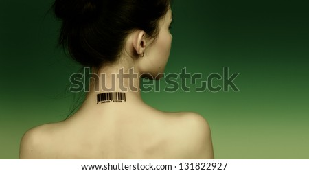 Girl with a bar code on her neck, the protection personal data - stock photo