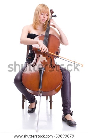 girl with a cello with a white background. playing - stock photo