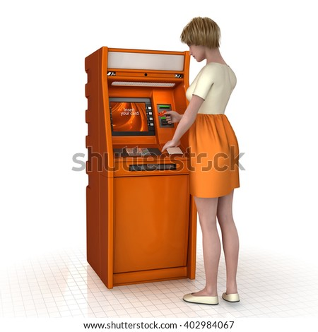 Girl with a credit card in front of the ATM. 3d illustration. Isolated on white. - stock photo