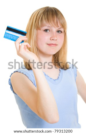 Girl with a debit card in hand - stock photo