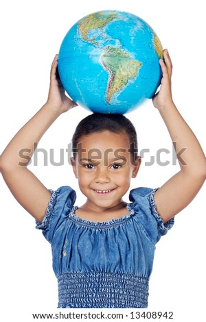 Girl with a globe of the world on her head a over white background - stock photo