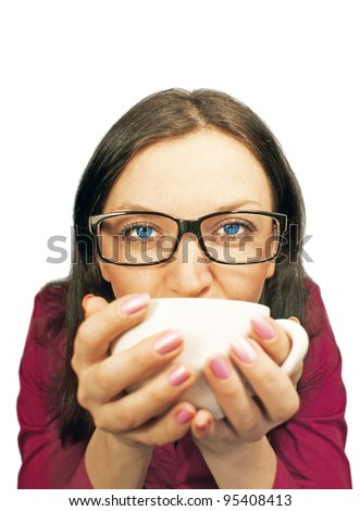 girl with a hot aromatic coffee isolated - stock photo