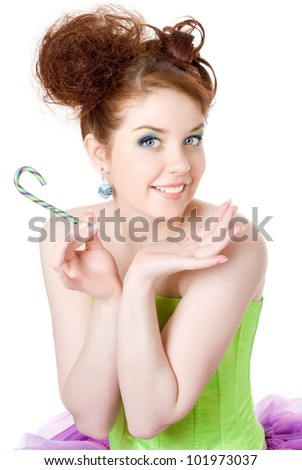 Girl with a lollipop in his hand, white background - stock photo