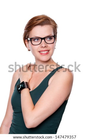 Girl with a modern Internet Smart Watch isolated on white. On the screen you can see a symbol of a call. All Texts, Icons, Interfaces of the Smart Watch where created from scratch by myself. - stock photo