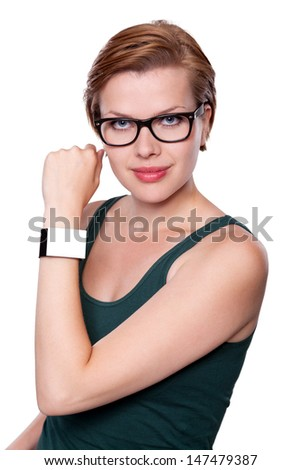 Girl with a modern Internet Smart Watch isolated on white. The Screen is blank and you can insert everthing you want to it. All Texts, Icons, Interfaces of the Smart Watch where created by myself. - stock photo