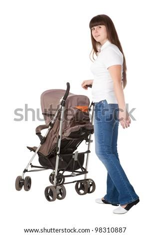 girl with a perambulator - stock photo