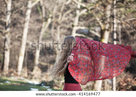 girl with a red scarf - stock photo