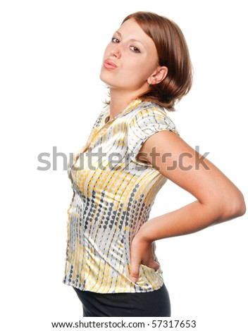 Girl with a sick back - stock photo