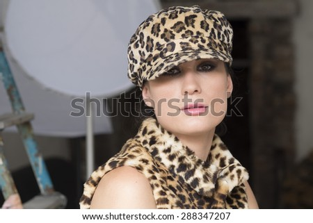 girl with a spotted hat   - stock photo