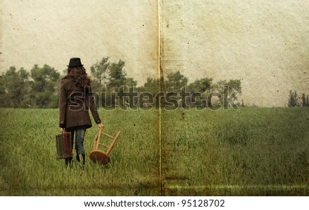 girl with a stool. Stylized antique photos. - stock photo