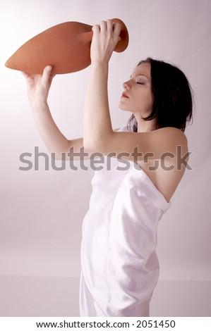 girl with amphora - stock photo