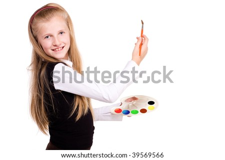 girl with ???????? and tassel on white background - stock photo