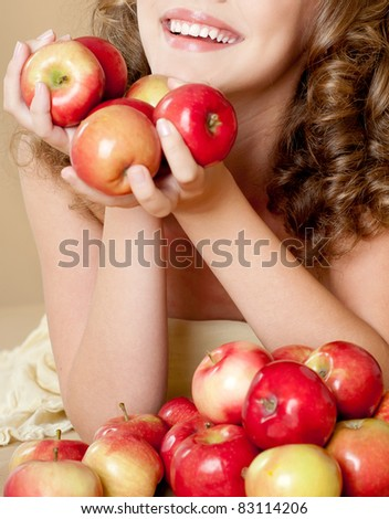 girl with apples - stock photo