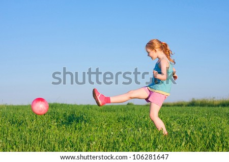 girl with ball outdoor - stock photo