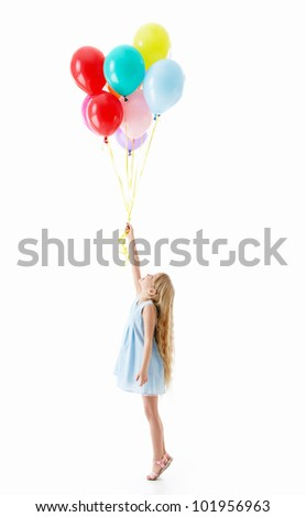 Girl with balloons on a white background - stock photo