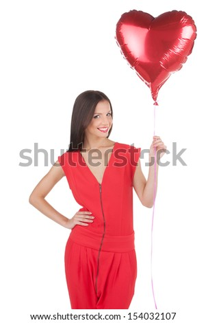 Girl with baloons. Beautiful young woman holding baloon and smiling while isolated on white - stock photo