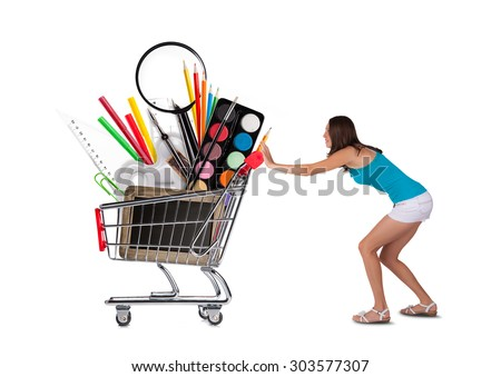 Girl with basket full of school accessories, isolated on white background. Concept of education and start of new school year - stock photo