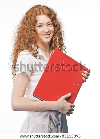 girl with binder - stock photo