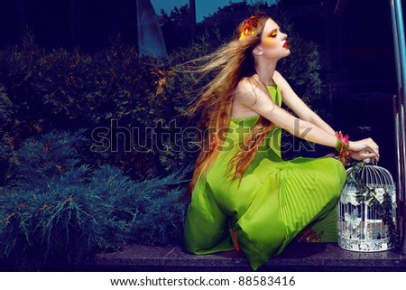 Girl with bird cage - stock photo