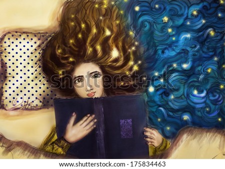 girl with book illustration. girl reading. girl dreaming background. - stock photo