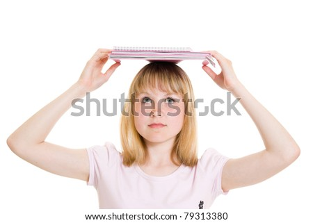 Girl with books on white background. - stock photo
