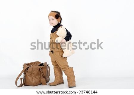 girl with brown bag - stock photo