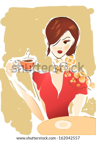 Girl with Coffee Cup or Tea. Illustration of a Woman in a Cafe - stock photo
