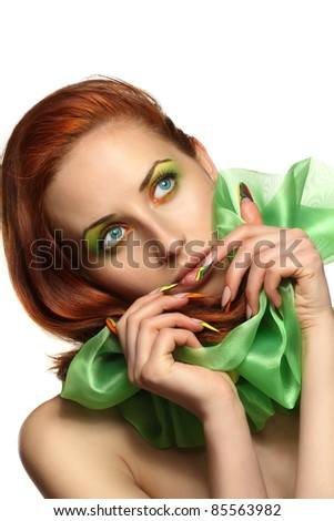 girl with colorful makeup and beautiful nails - stock photo