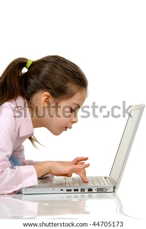 girl with computer - stock photo