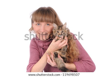 Girl with cute cat on the hands  isolated over white - stock photo