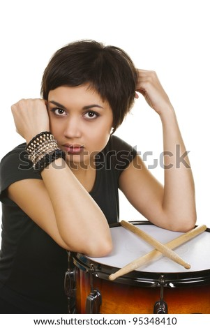 girl with drum - stock photo