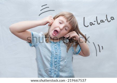 girl with earphones sings - stock photo