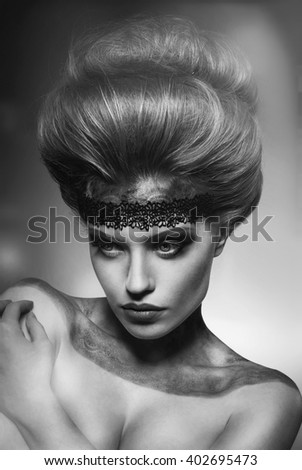 Girl with fashion and original hairstyle - stock photo