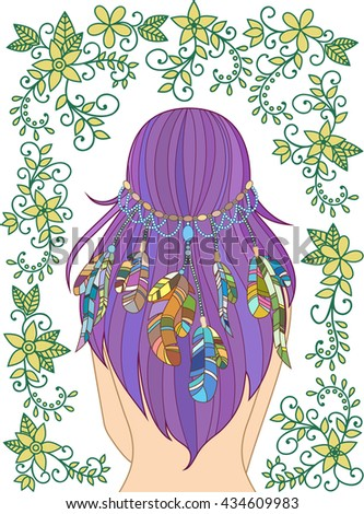 Girl with feathers in her hair and floral pattern, hippie style, line art. - stock photo