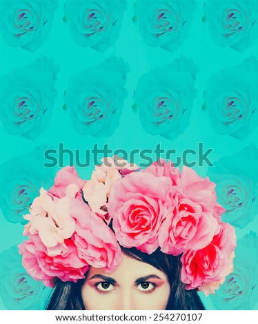 Girl with flowers on her head. Floral background. March 8 Style - stock photo