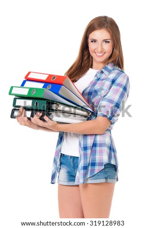 Girl with folders, isolated on white background  - stock photo