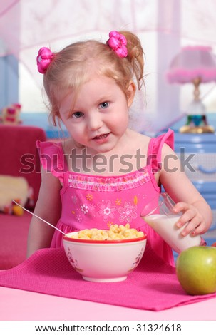 girl with food - stock photo