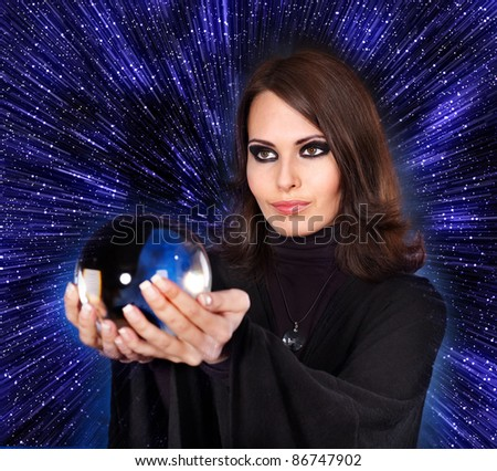 Girl with fortune telling ball against  star sky.Illustration. - stock photo